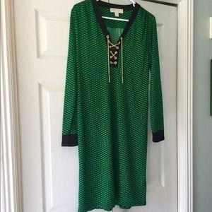 Michael Kors Green Gold Chain Dress Size Medium